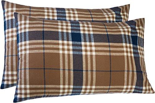 Pinzon 160 Gram Plaid Flannel Pillowcases - Standard, Brown