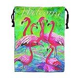 CMTRFJ Personalized Drawstring Bag-Flamingo Holiday/Party/Christmas Tote Bag
