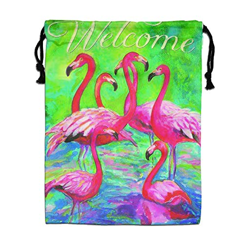 CMTRFJ Personalized Drawstring Bag-Flamingo Holiday/Party/Christmas Tote Bag by CMTRFJ