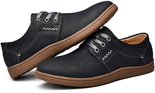 Retros de Británicos Casuales Zapatos Conducción de de Cuero Elegantes Hombre holgazán Los Para Encadenan Zapatos Negro Phefee wBZtq