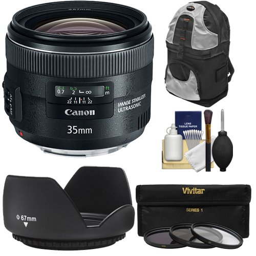 Canon EF 35mm f/2 IS USM Lens with Sling Backpack + 3 UV/ND8/CPL Filters + Hood + Cleaning Kit for EOS 6D, 70D, 5D Mark II III, Rebel T3, T3i, T4i, T5, T5i, SL1 DSLR Cameras