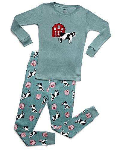 Leveret Organic Cotton Cow 2 Piece Pajama Set 2 -