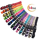 Milliepet Puppy ID Collars Nylon Soft Identification Colorful Adjustable Breakaway Safety Whelping Litter Collars for Pups with Record Keeping Charts 14pcs/Set