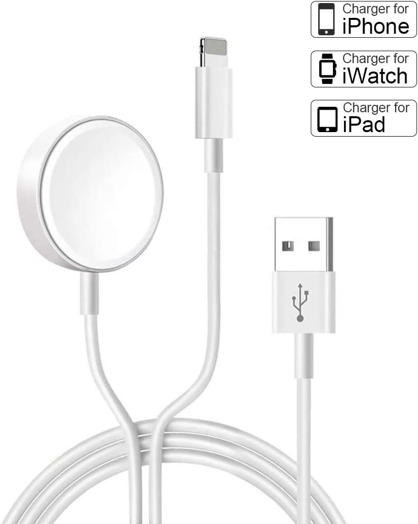Compatible with iPhone and iWatch Charger, 2 in 1 Portable Wireless Watch Charger Apply for iWatch Charging Cable for iWatch Series 5/4/3/2/1 & iPhone 11/XR/XS/MAX/X & iPad Mini 5/4/3/2/1