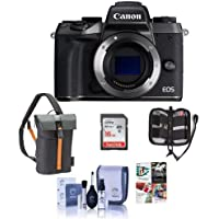 Canon EOS M5 Mirrorless Digital Camera Body, Black - Bundle with Holster Case, 16GB SDHC Card, Cleaning Kit, Memory Wallet, Software Package