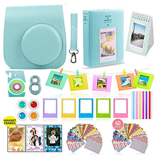 Blue Color Dark Accessories - Fujifilm Instax Mini 9 Camera Accessories Bundle, ICE Blue Instax Mini Case, 14 PC Kit Includes: 2 Photo Albums, Color Filter, Selfie Lens, Magnets + Hanging + Creative Frames, 60 Stickers, Gift Set