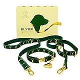 Hunter Luxury Dog Collar Set - Woven Hemp Dog Collar & Training Leash...