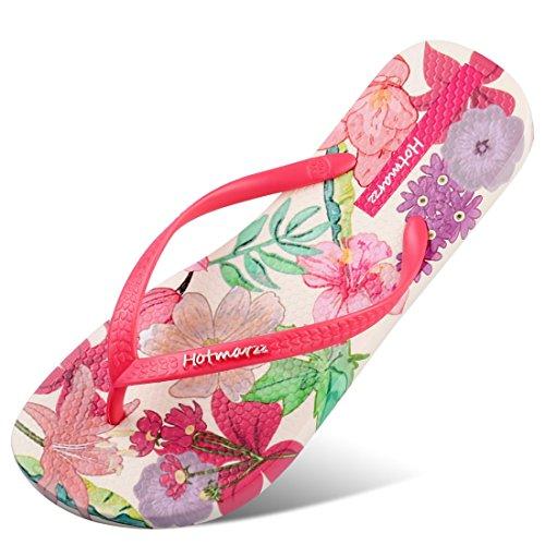 Hotmarzz Women's Flowers Fruits Pattern Summer Beach Colorful Slippers Tongs Sandals Flat Slides Size 9 B(M) US / 40 EU / 41 CN, Flower, White
