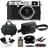 Fujifilm X100F Silver Digital Camera w/Fuji Black Leather Case