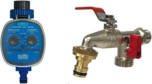 Aqua Control - Programador de Riego C4099N + Grifo de Jardín G6354 con Doble Salida 1/2 - 3/4: Amazon.es: Jardín