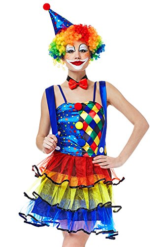 Top 5 Female Halloween Costumes - Adult Women Big Top Clown Halloween Costume Circus Juggler Dress Up & Role Play (One size fits most, blue, red, yellow)