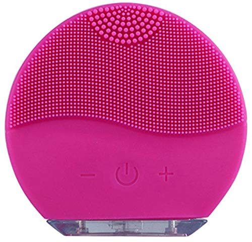 Sonic Facial Brush, Waterproof Silica Gel Facial Cleansing Brush, USB Charging Facial Massager, Rechargeable Pore Cleansing Tool for Deep Cleansing Skin Care Fuchsia