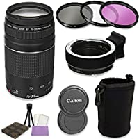 Canon EF 75-300mm f/4-5.6 III Lens + Auto (EF/EF-S to EF-M) Mount Adapter Bundle For Canon M-Series Cameras (Canon M5, M6, M10, M100)