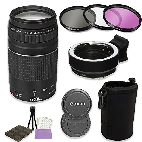 Canon EF 75-300mm f/4-5.6 III Lens + Auto (EF/EF-S to EF-M) Mount Adapter Bundle for Canon M-Series Cameras (Canon M5, M50, M6, M10, M100)