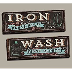 "Rustic Vintage-Style Iron Press Fold"" and ""Wash Rinse Repeat"" Laundry Set by Pel Studios; Two 20x8in Hand-Stretched Canvas"