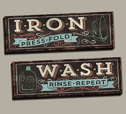 """Rustic Vintage-Style Iron Press Fold"""" and """"Wash Rinse Repeat"""" Laundry Set by Pel Studios; Two 20x8in Hand-Stretched Canvas"""