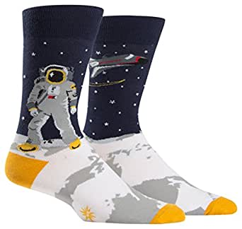 Sock It To Me Mens Crew Sock, One Giant Leap, Astronaut Socks,Multi,One Size Fits Most