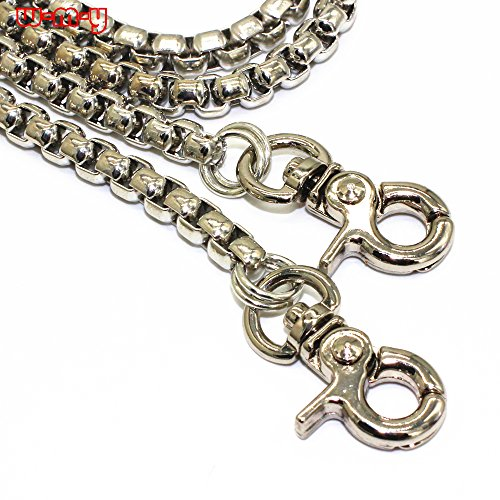 M-W 47 DIY Iron Box Chain Strap Handbag Chains Accessories Purse Straps Shoulder Cross Body Replacement Straps, with Metal Buckles (Silver)