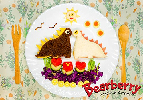 Bearberry Sandwich Cutters, Bread Crust & Cookie Stamp Set - Fun Heart, Dinosaur, Food Shapes for Kids Bento Lunch Box, Boys and Girls - GET FREE Mini Stainless Steel Vegetable & Fruit Press! by Bearberry (Image #5)