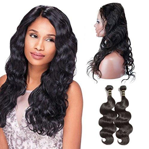 Rechoo 360 Lace Frontal Closure with Bundles Brazilian Body Wave Hair Weave 2 Bundles Hair Extensions (12 14+12)