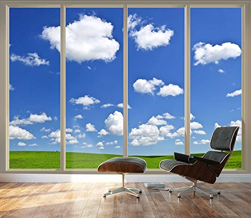 Large Wall Mural Clear Sky and Green Meadow Seen Through Sliding Glass Doors 3D Visual Effect Vinyl Wallpaper Removable Decorating