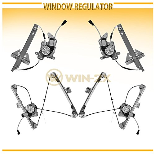 WIN-2X New 4pcs Complete Front+Rear Driver & Passenger Side Power Window Regulators With Motor Assembly Fit 99-04 Oldsmobile Alero 99-05 Pontiac Grand Am 4-Door Sedan With Electric Lifters