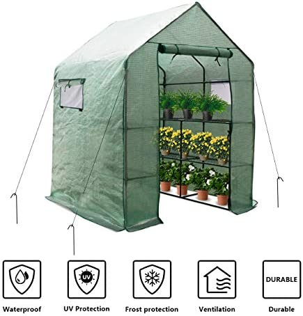 LINLUX Large Portable Walk-in Plant Greenhouse with PE Cover, 2 Tiers 8 Shelves Waterproof Gardening Steeple Greenhouse, Window Version and Roll-Up Zipper Door 56 W x 56 D x 77 H Inch