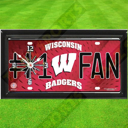 Badgers Wisconsin Clock Wall - WISCONSIN BADGERS NCAA CLOCK - BY TAGZ SPORTS