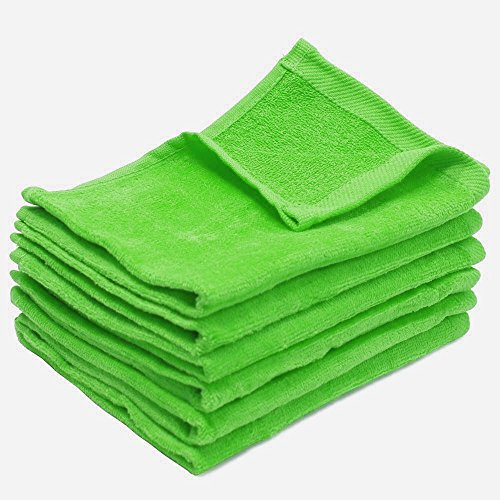 LIME COLOR Terry Velour Hand Towels 100% Cotton, 11