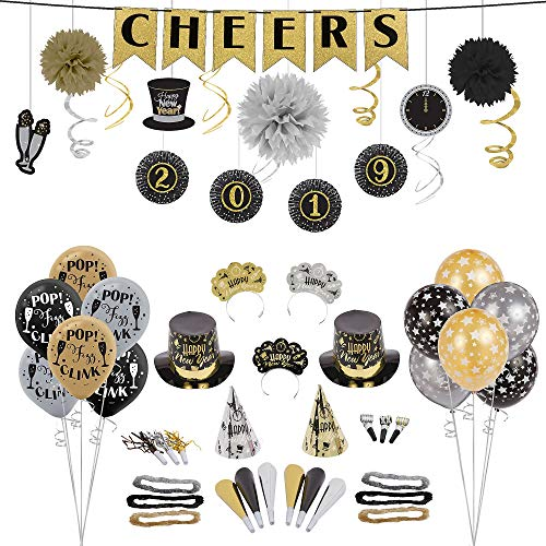 Party City Black, Gold and Silver New Year's Eve Accessory & Decor Kit for 50 Guests, Includes Banner and Balloons -