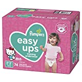 Pampers Easy Ups Diapers Size 4 (2T-3T), Pull On Disposable Training Diaper for Girls, SUPER PACK, 74 Count