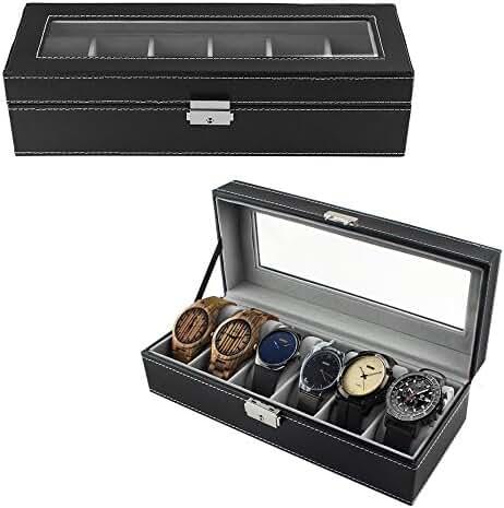 6 Slot Leather Watch Box Display Case Organizer Glass Jewelry Storage Black