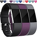 Replacement Bands for Fitbit Charge 2, 3-Pack Fitbit Charge2 Wristbands, Small, Black, Plum, Gray