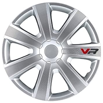 VR - Set de 4 tapacubos de 16 pulgadas, aspecto de carbono, para Ford, VW, color plateado: Amazon.es: Coche y moto