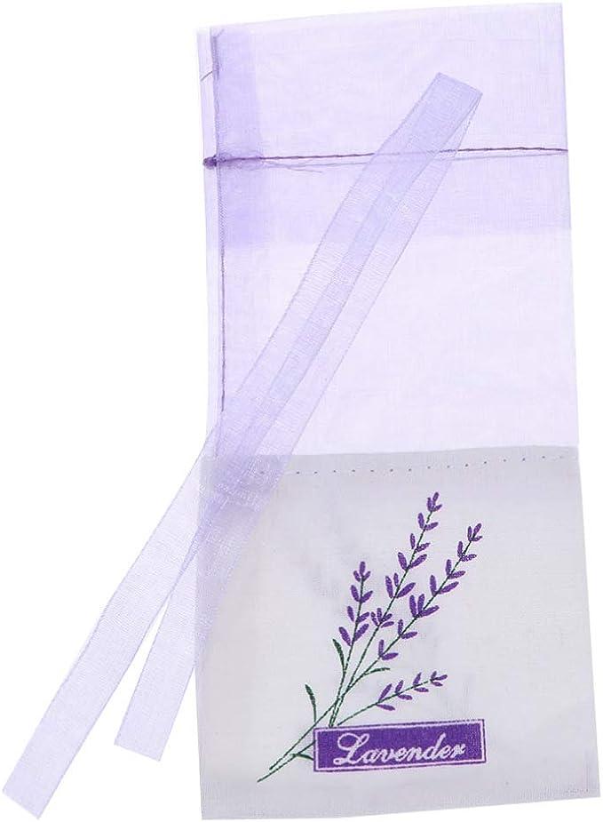 LIOOBO Bolsas de bolsitas de lavanda de 20 piezas bolsas de gasa con cord/ón morado de algod/ón y ramio bolsas de lavanda de gasa bolsas de bolsitas vac/ías