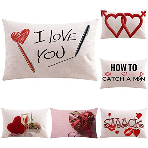 Price comparison product image Sunbona Valentine's Day Throw Pillow Case for Sofa Cushion Cover, Cotton Linen Letter Print Home Decoration Rectangle Pillow Covers, 20 X 12 inches (A,  20 X 12 inches)