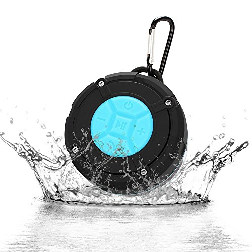 Tsumbay Waterproof Wireless Shower Speakers Portable Speaker with IPX7, Suction Cup, Speakers Buit-in Micphone for Bathroom, Shower, Boat, Pool, Beach, Kitchen, Car, Outdoor -Blue