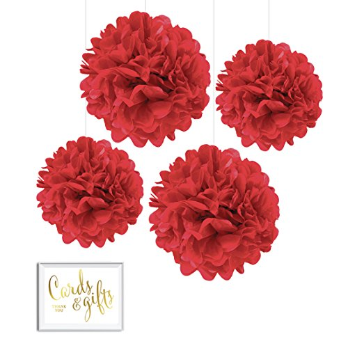 Andaz Press Tissue Paper Pom Poms Hanging Decorations with Free Gold Card & Gifts Party Sign, Red, 8-inch and 10-inch, 4-Pack, Colored Birthday Party Supplies -