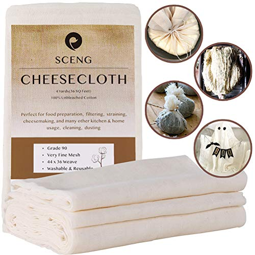 Cheesecloth, Grade 90, 36 Sq Feet, Reusable, 100% Unbleached Cotton Fabric, Ultra Fine Cheesecloth for Cooking – Nut…