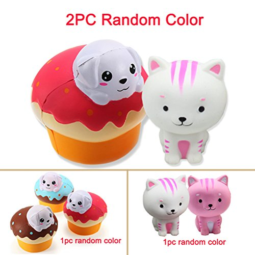 Animal, Slow Rising Kawaii Cat + Soft Puff Dog Bread Toy Stress Relief for Collection Gifts by Shellvcase ( 2 PC Random Color ) ()