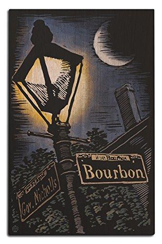 Lantern Press New Orleans, Louisiana - Bourbon Street Lamppost - Scratchboard (12x18 Wood Wall Sign, Wall Decor Ready to ()