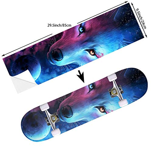 STREET FFX Fashion Funny Skateboard Cruiser Deck and Balance Board Stickers Decals Grip Tape - 9.5 x 33.5 Inches - Pink and Blue Cool Wolf Moon Art
