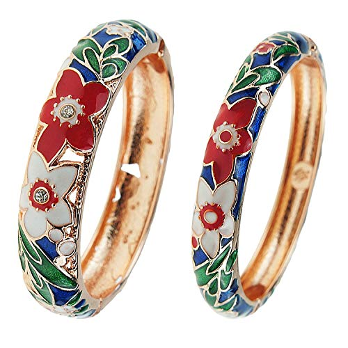 UJOY Bracelet Cloisonne Jewelry Colorful Fashion Opening Hinged Bangles Crafted Enamel Flower Gifts for Women 88A11 Navy Blue
