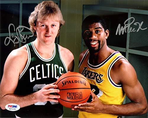 Magic Johnson & Larry Bird Autographed 8x10 Photo PSA/DNA ITP Stock ()