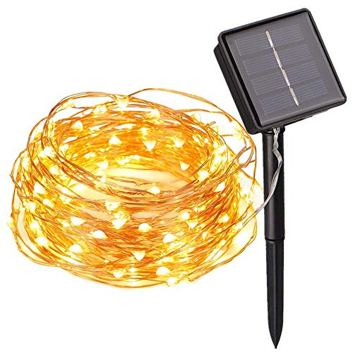 Solar String Lights, 100 LED Solar Fairy Lights 33 feet 8 Modes Copper Wire Lights Starry String Lights Indoor Outdoor Waterproof Solar Decoration Lights for for Garden Yard Cafe Home Christmas Party