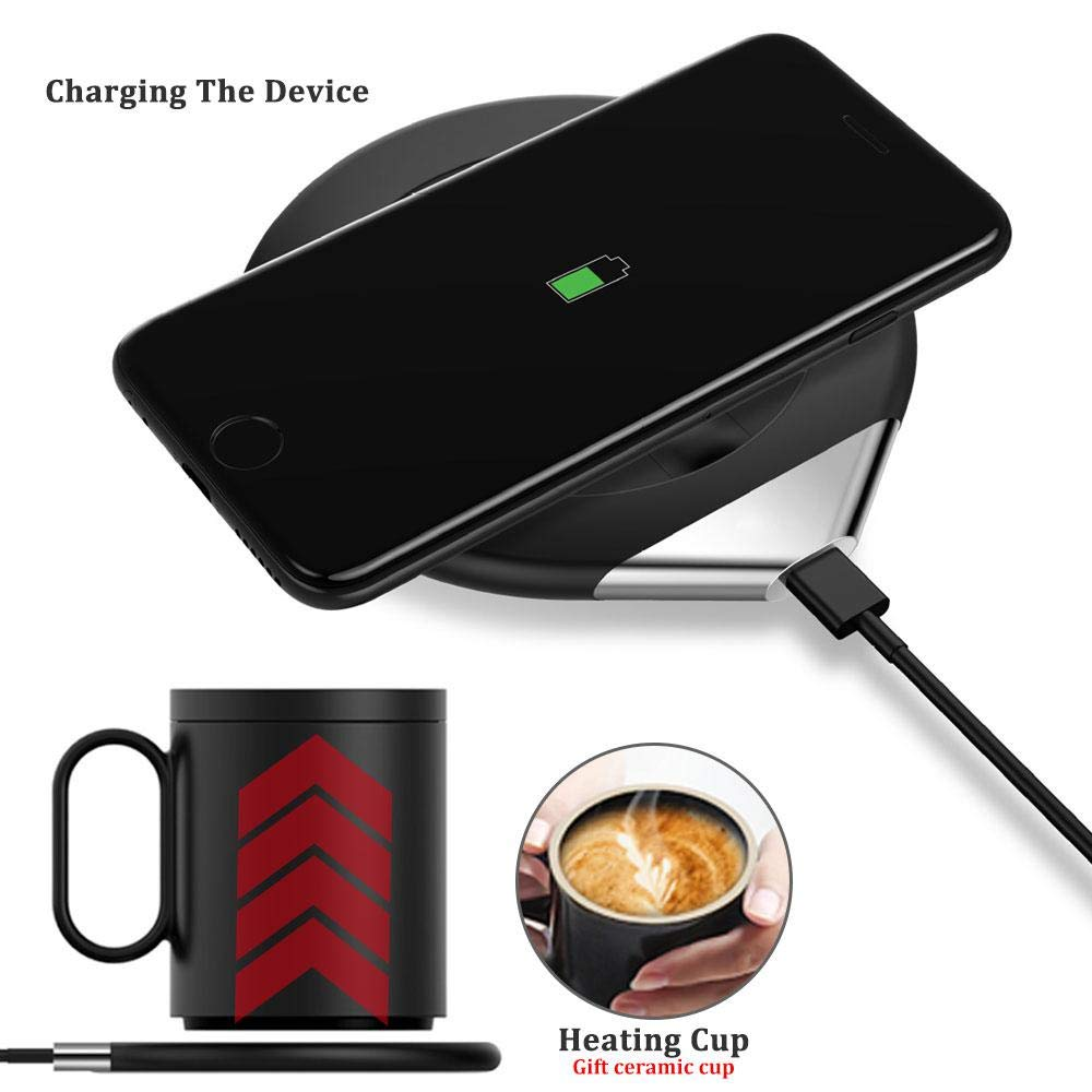 OOOUSE Mug Warmer with Lid,Coffee Mug Warmer with Automatic Shut Off and Support Wireless Charging for Mobile Phone,Beverage Warmer for Home Office Tea Coffee Milk by OOOUSE (Image #2)