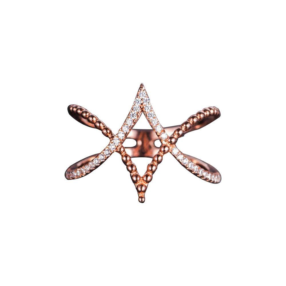 OldSch001 Women's Simple Diamond Shaped Cross Rings(Rose Gold,10)