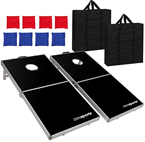 ZENY Portable 4' x 2' Aluminum Foldable Bean Bag Toss Cornhole Game Set Regulation Size Cornhole Boards & 8 Bags Set Playset Backyard Outdoor Corn Hole