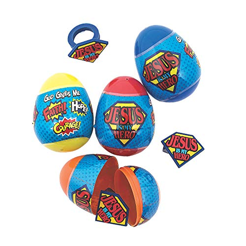 Jesus Is My Hero Filled Easter Eggs (set of 12 Pieces)