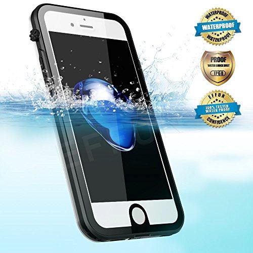 Effun iPhone 7 Waterproof Case, IP68 Certified Waterproof Underwater Cover Dustproof Snowproof Shockproof Case with Cell Phone Holder, PH Test Paper, Stylus Capacitive Pen and Floating Strap Black